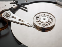 Macro shot of the mechanism of the hard drive Royalty Free Stock Photography