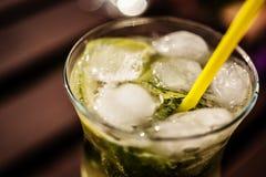 Macro shot of mojito. Macro shot of glass with mojito Royalty Free Stock Photos