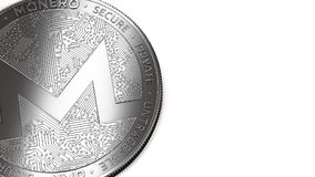 Macro shot of Monero coin and copy space Royalty Free Stock Images