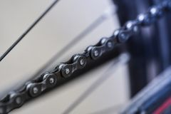 Macro shot of mountain bike chain repair mountain bike. Close up Royalty Free Stock Photography
