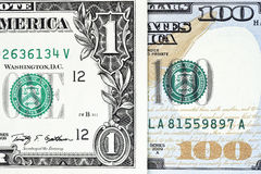 Macro shot of a new 100 dollar bill and one dollar. On background Stock Image