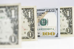 Macro shot of a new 100 dollar bill and one dollar. Isolate on white background Stock Illustration