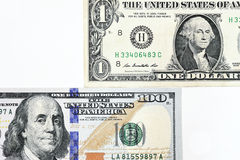 Macro shot of a new 100 dollar bill and one dollar Royalty Free Stock Photography