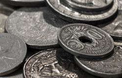 Macro shot of old coins. Macro shot of various old coins Stock Images