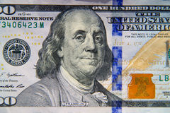 Macro shot of one hundred dollar bill Royalty Free Stock Photography