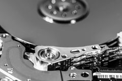 Macro shot of open hard disc drive Stock Images