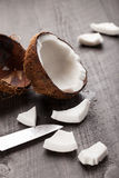 Macro shot of open raw coconut Royalty Free Stock Photo