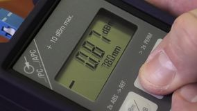Macro shot of the Optical Power Meter stock video footage