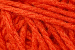 Macro shot of orange yarn or wool Stock Photo