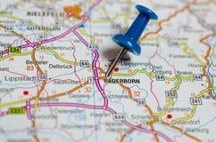 Paderborn on map. Macro shot of Paderborn on map with push pin royalty free stock image