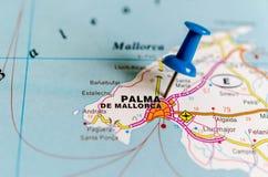 Palma de Mallorca on map. Macro shot of Palma de Mallorca on map with push pin. Palma is a resort city and capital of the Spanish island of Mallorca Majorca, in stock image