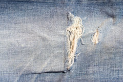 Macro shot  of a part of the jeans that is a bit torn Royalty Free Stock Image