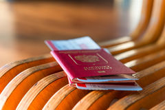 Macro shot of passports and tickets Royalty Free Stock Photography