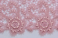 The macro shot of the pink lace texture Royalty Free Stock Photography