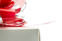 Macro shot of red bow on a gift box Royalty Free Stock Image