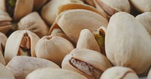Macro shot of roasted pistachios.