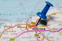 Rostock on map. Macro shot of Rostock on map with push pin Stock Image