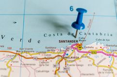 Santander on map royalty free stock photo