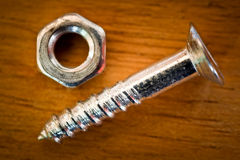 Macro shot of a screw and nut Stock Photography