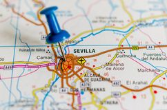 Seville on map stock photography