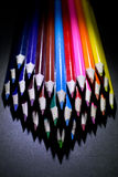 Macro Shot of Sharpened Colorful Pencils Against Black Background Royalty Free Stock Photo