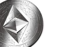 Macro shot of silver Ethereum Classic and copy space Royalty Free Stock Photos