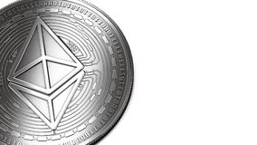 Macro shot of silver Ethereum and copy space Royalty Free Stock Image
