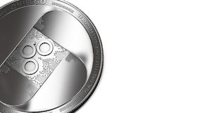 Macro shot of silver Omisego coin and copy space. Macro shot of silver OmiseGo OMG coin and copy space on the right where you can place your text or chart stock illustration