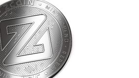 Macro shot of silver Zcoin and copy space. Macro shot of silver Zcoin XZC and copy space on the right where you can place your text or chart. Isolated on white vector illustration