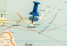 Skopelos on map royalty free stock photo