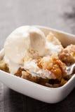 Macro shot of small bowl of peach crisp with ice cream royalty free stock photos