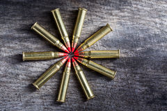 Macro shot of small-caliber tracer rounds with a Royalty Free Stock Photos