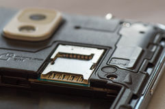 Macro shot of a smartphone's expansion slot Royalty Free Stock Photography
