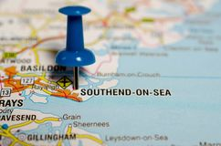 Southend-on-Sea on map. Macro shot of Southend-on-Sea on map with push pin stock image