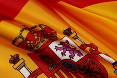Macro shot of Spanish flag Royalty Free Stock Image