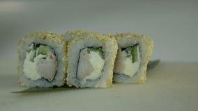 Macro shot of sushi. Japanese restaurant, sushi, oriental tradition. stock video