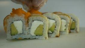 Macro shot of sushi. Japanese restaurant, sushi, oriental tradition. stock footage