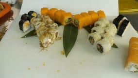 Macro shot of sushi. Japanese restaurant, sushi, oriental tradition. stock video footage