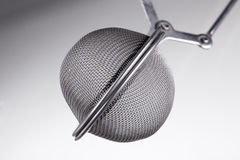 Macro shot of a tea infuser, on grey Stock Images