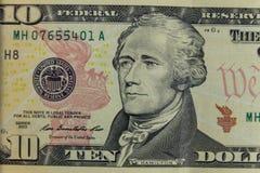Macro shot of ten dollars banknote. Macro shot of the ten dollars banknote Royalty Free Stock Photos