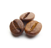 Macro shot of three coffee beans Stock Photography