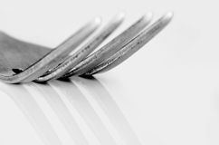 Macro shot of the tines of a fork Royalty Free Stock Image
