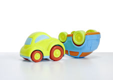 Macro shot of a toy car. Shot of a Toy plastic car with a car key attached. The toy car has no branding/manufacturer logos or company names. The car key fob has royalty free stock photo