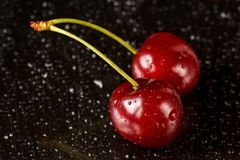 Macro shot of two delicious ripe cherries on a black reflective background with water drops. Shallow depth of field Stock Images