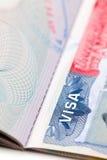 Macro shot of a U.S. visa on passport page Royalty Free Stock Image