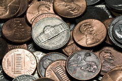 Macro shot of US coins. Close up shot of a pile of US coins royalty free stock image