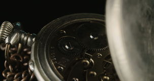 Macro shot of a Vintage pocket watch stock footage