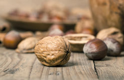 Macro shot of walnuts Royalty Free Stock Photo