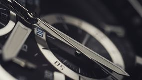 Macro shot of watch with second hand passing. Clock face rack focus. 4k stock footage