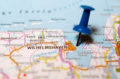 Wilhelmshaven on map. Macro shot of Wilhelmshaven on map with push pin stock images